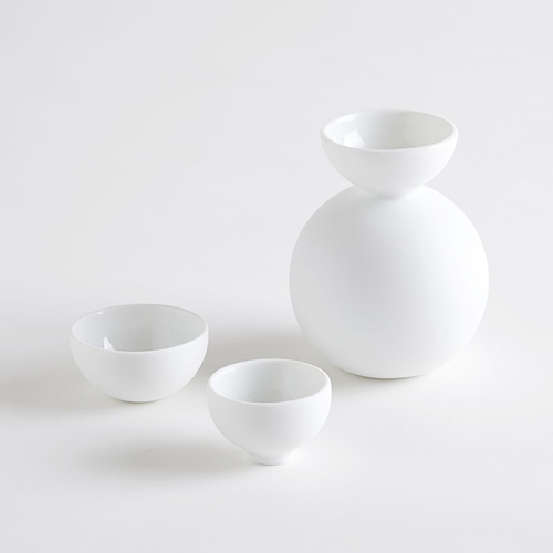 Ceramic Japan セラミックジャパン/徳利、猪口3点セット「酒器だるま」(ビスク 無釉)