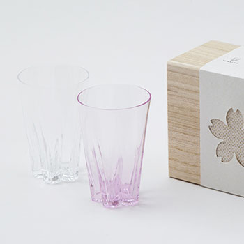 100%/SAKURASAKU GLASS TUMBLER サクラサクグラス(タンブラー)紅白セット