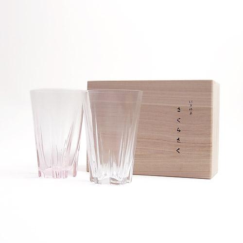100%/SAKURASAKU glass サクラサクグラス(タンブラー)紅白セット