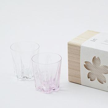 100%/SAKURASAKU GLASS SAKE サクラサクグラス(サケ)紅白セット