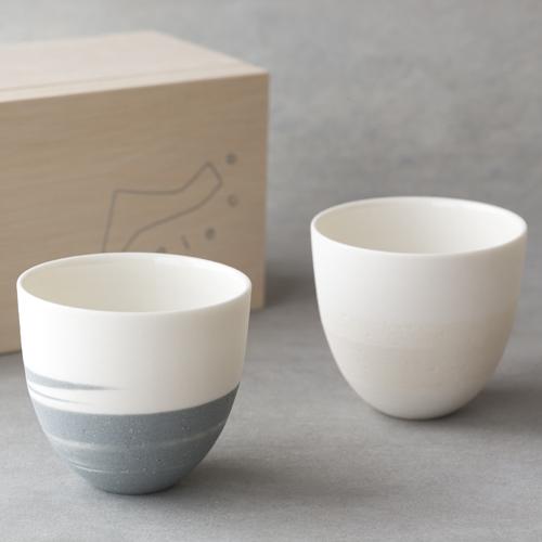 AR Piece アールピース/TOU-GLASS 陶グラス CUP PAIR SET(カップ ホワイト&グレー ペアセット)