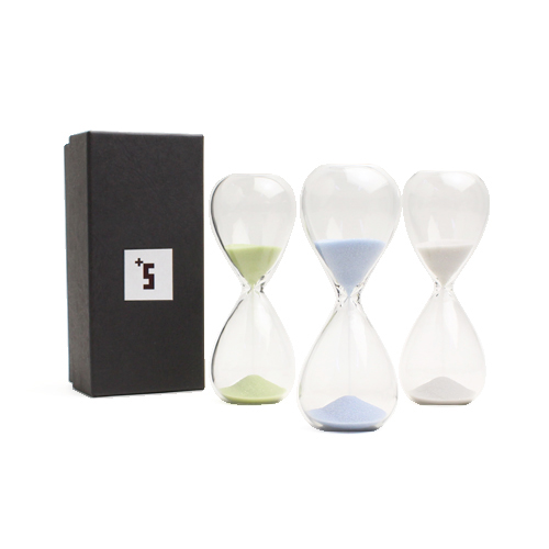 「+S」プラスエス/「スナ式トケイ」ガラス製砂時計 3分計(3種)