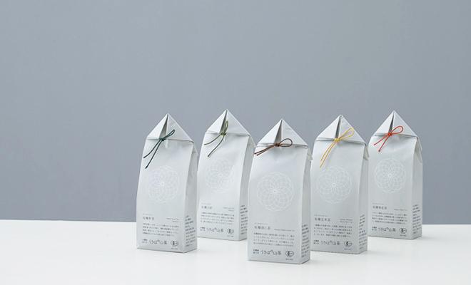 うきはの山茶のプレミアム有機栽培茶が5種類並べられている画像