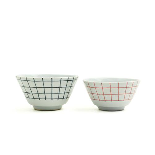 日下華子(くさかはなこ)+S/九谷焼 飯椀 格子(朱S・呉須L)