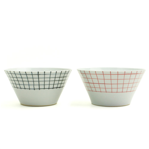 日下華子(くさかはなこ)+S/九谷焼 深鉢 格子(朱・呉須)