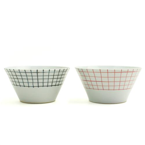 日下華子+S/九谷焼 深鉢 格子(朱・呉須)