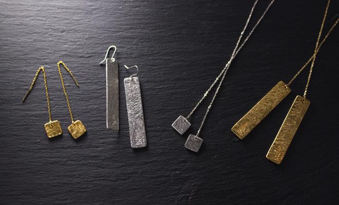 NAGAE+ ナガエプリュス/TIN BREATH Pierced earring A ティンブレス ピアス10×10(2色)/TIN BREATH ティンブレス 10×10ピアス(2色)、10×50ピアス、ラリアットが並んだ画像