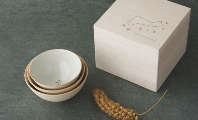 AR Piece アールピース 家族茶碗 3個セットの茶碗が並んだ画像