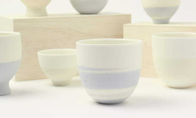 AR Pieceプラスエス TOU GLASS CUP SKY 陶グラスカップ スカイが他商品と並んだ画像