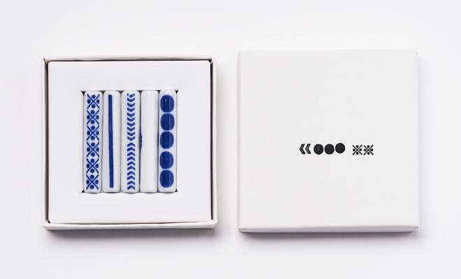 東屋 あずまや 印判箸置き 5本用箱に箸置きが入った画像