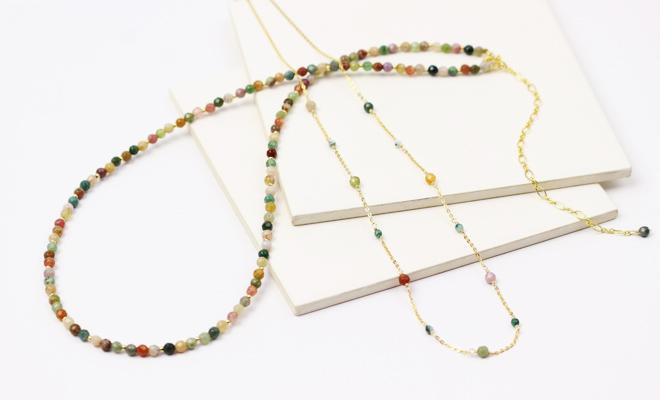 misa ミサ アゲート ブレスレット ネックレス2種が並んだ画像