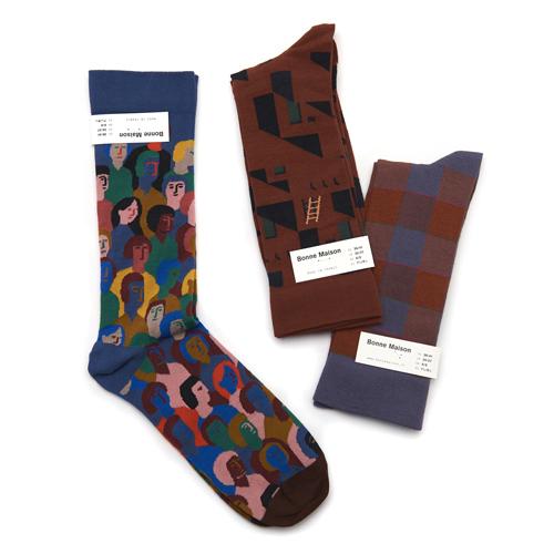 Bonne Maison ボンメゾン/メンズソックス 靴下 柄(3種)