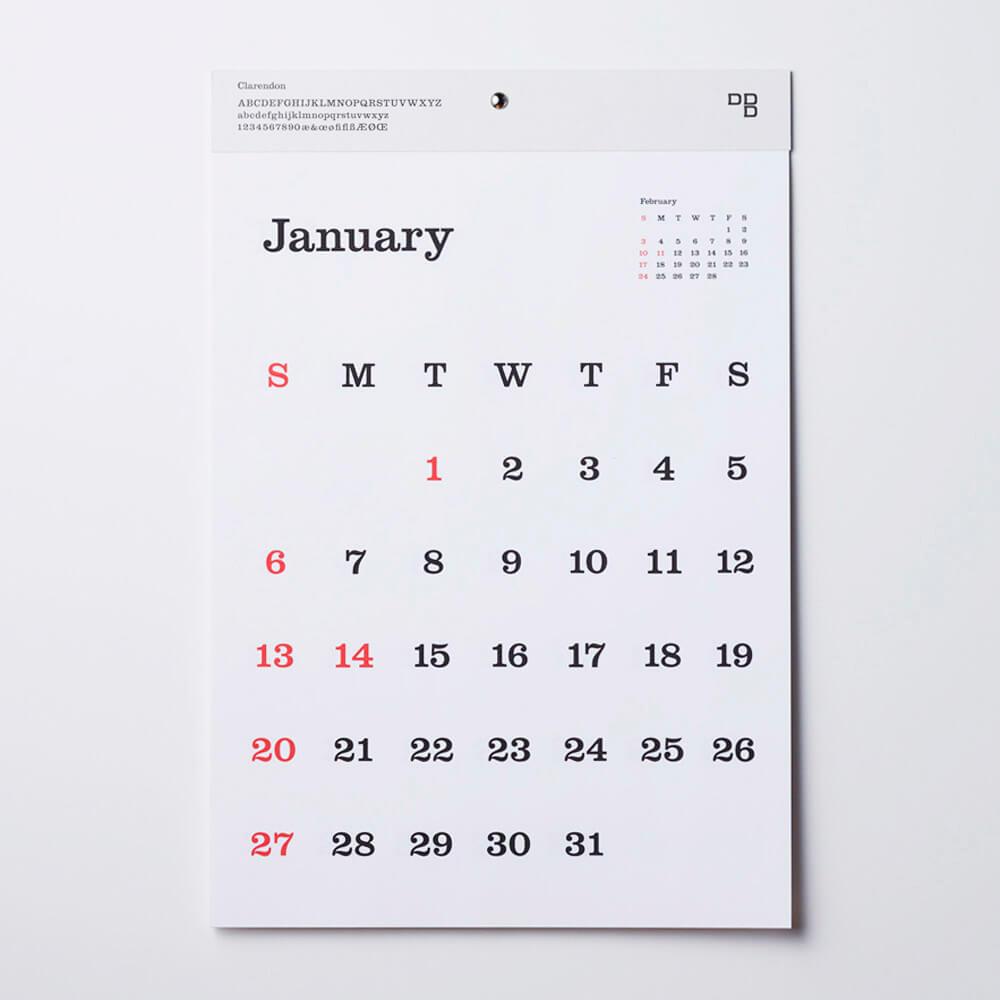 2019カレンダー/D-BROS 「TYPEFACE Clarendon」タイプフェイスカレンダー 壁掛け