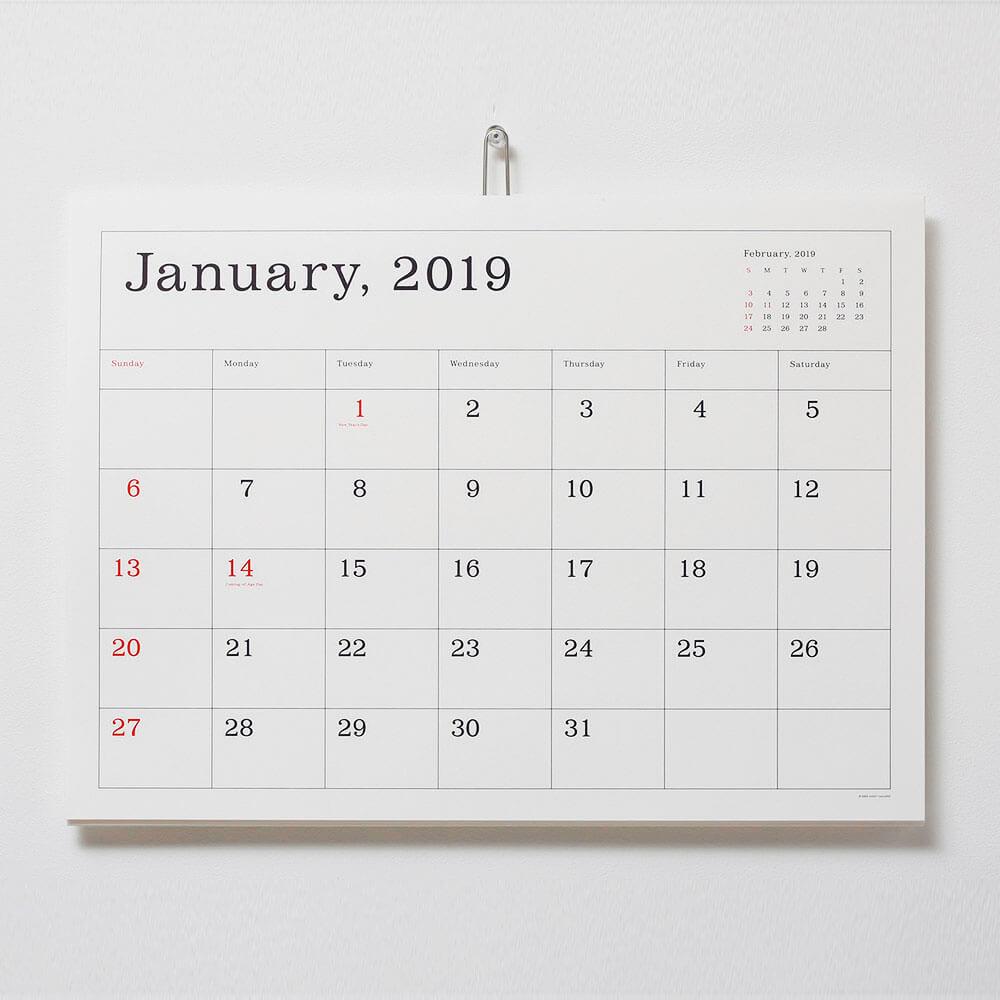 2019カレンダー/アンドーギャラリー 「葛西薫デザイン カレンダー」(罫線あり・なし)