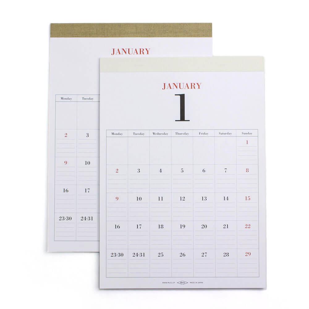 2019カレンダー/MUCU ムク 「WALL CALENDAR - DAYS」ウォールカレンダー(2種)