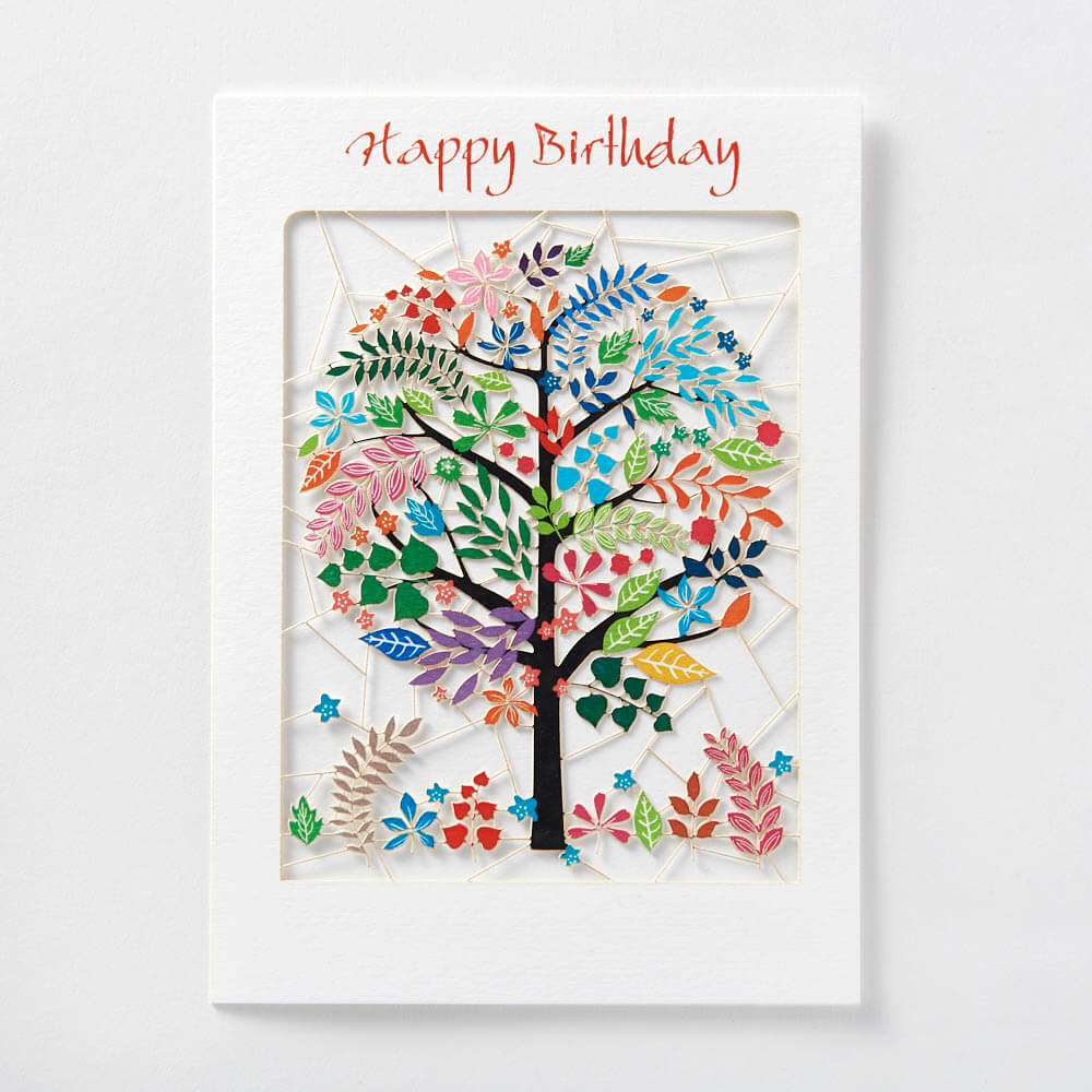 Happy Birthday multicoloured tree