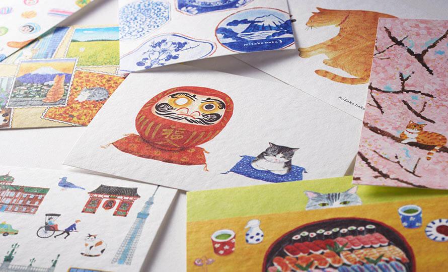 ナカミサコが描くオリジナルポストカード