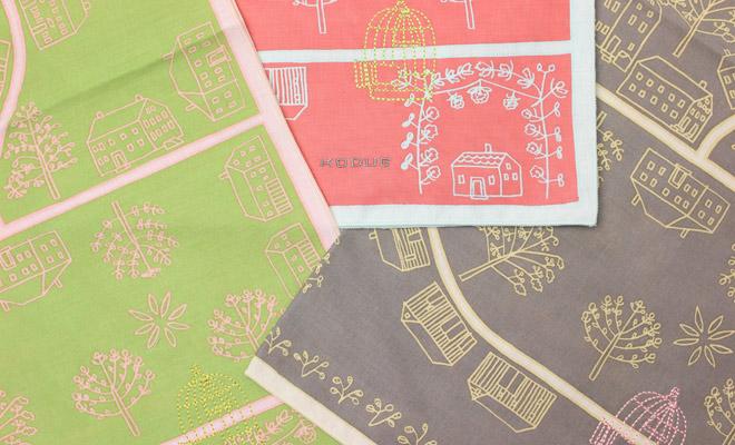 ひびのこづえ/ハンカチ「幸福の鳥を探して」(3色)が並んだイメージ画像