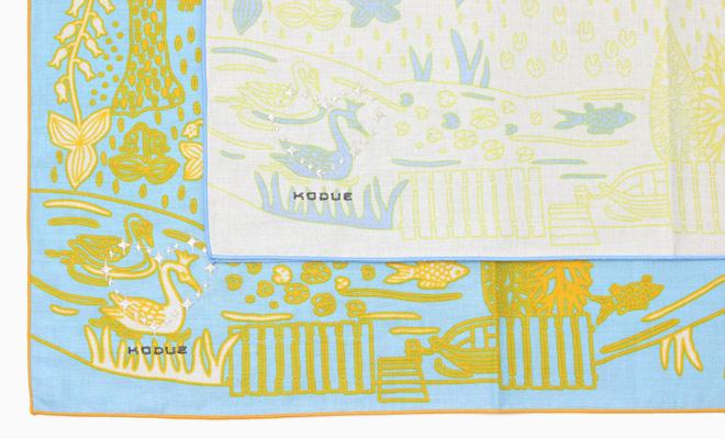 ひびのこづえ/ハンカチ「庭」(2色)が並んだイメージ画像