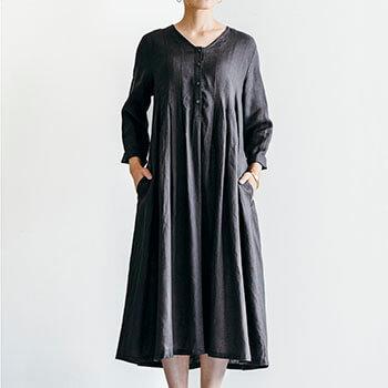fog linen work フォグ リネンワーク/ABBY DRESS BLUE GREY アビー ワンピース ブルーグレー