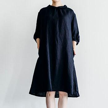 fog linen work フォグ リネンワーク/DORIS DRESS NAVY ドリス ワンピース ネイビー