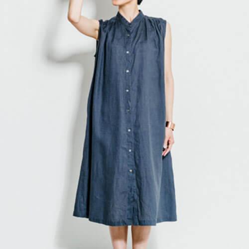 fog linen work フォグ リネンワーク/ELLEN DRESS ARDOISE エレン ワンピース アルドワーズ