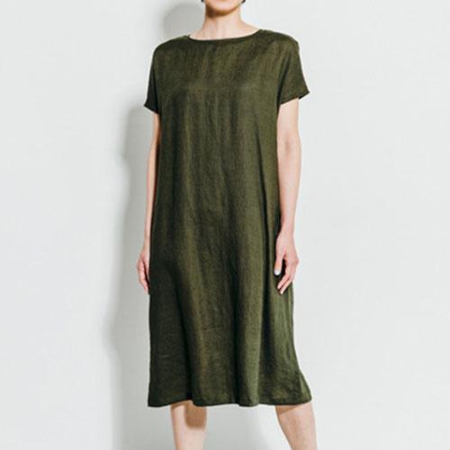 fog linen work フォグ リネンワーク/JOHANNA DRESS OLIVE ヨハンナ フレンチスリーブ ワンピース オリーブ