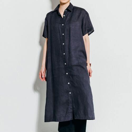 fog linen work フォグ リネンワーク/LISBET DRESS BLUE GREY リスベット シャツワンピース ブルーグレー