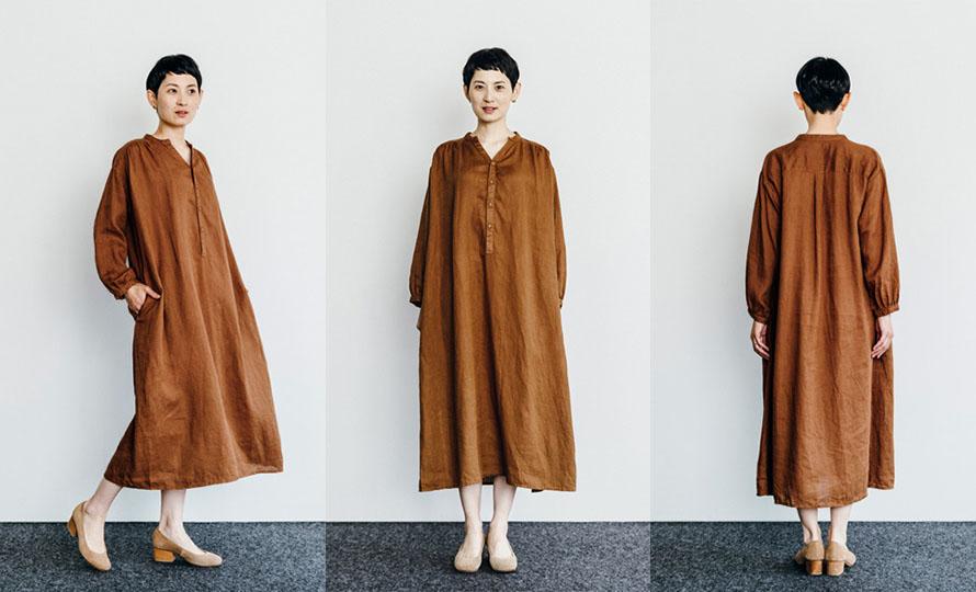 fog linen work フォグ リネンワーク/ALIDA DRESS NOISETTE アリダワンピース ノアゼットのイメージ画像