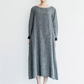 fog linen work フォグ リネンワーク/BRUNELLA DRESS TOOTHHOUND CHECK ブルネラ ワンピース 白黒千鳥格子