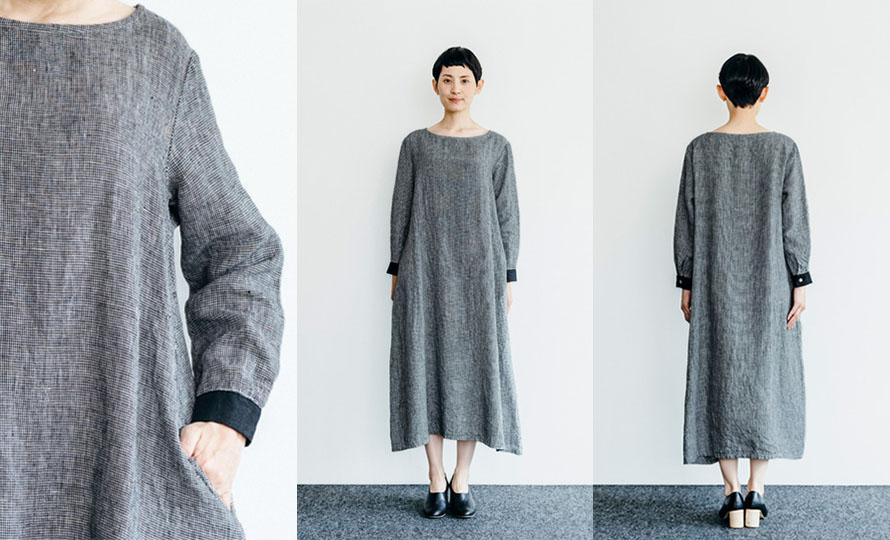 fog linen work フォグ リネンワーク/BRUNELLA DRESS TOOTHHOUND CHECK ブルネラ ワンピース 白黒千鳥格子のイメージ画像