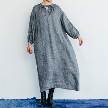 fog linen work フォグ リネンワーク/JESSICA DRESS HERRINGBONE BLACK  ジェシカ ワンピース ヘリンボンブラック