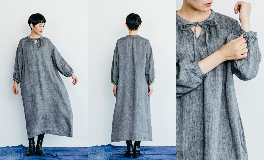 fog linen work フォグ リネンワーク/JESSICA DRESS HERRINGBONE BLACK  ジェシカ ワンピース ヘリンボンブラック のイメージ画像
