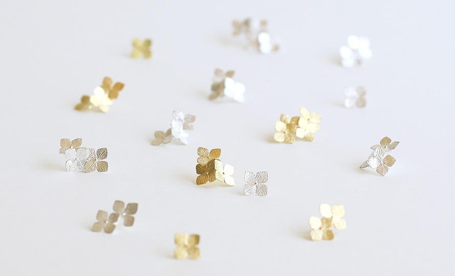 Pfutze プフッツェ/hydrangeas pierced earring 紫陽花 ピアス(シングル 4種)のイメージ画像