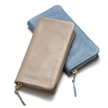 Arizona アリゾナ/レザーラウンドファスナー 長財布(グレイッシュブルー・グレー)