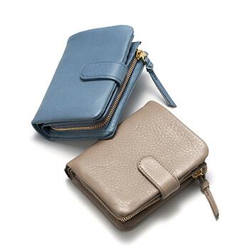 Arizona アリゾナ/ベルト付き 二つ折り財布(グレイッシュブルー・グレー)