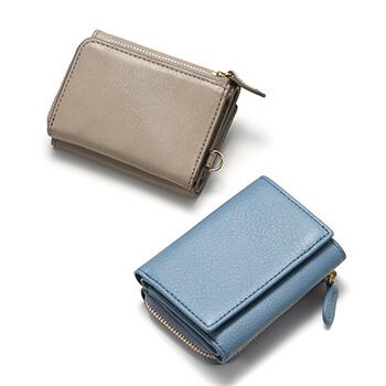 Arizona アリゾナ/三つ折り財布(グレイッシュブルー・グレー)
