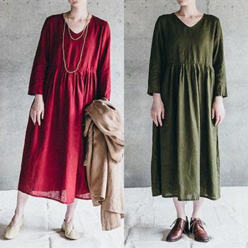 fog linen work フォグ リネンワーク/AILA DRESS BRIC アイラ ワンピース(2色)