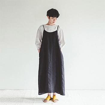fog linen work フォグ リネンワーク/パイパー ワンピース(ブラック)