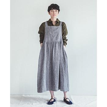 fog linen work フォグ リネンワーク/アン エプロンドレス(白黒千鳥格子)