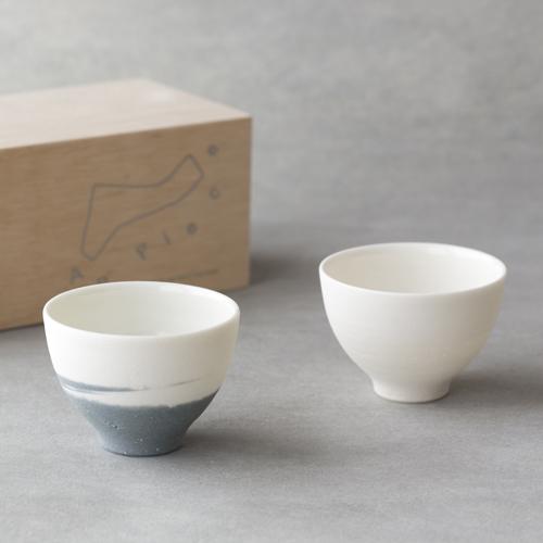 AR Piece アールピース/TOU-GLASS 陶グラス SAKAZUKI PAIR SET(盃 ホワイト&グレー ペアセット)