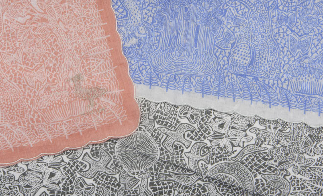 ひびのこづえ ハンカチ 透明の国3色が重なった画像