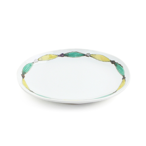 日下華子 くさかはなこ/九谷焼 だ円皿「色絵魚文」
