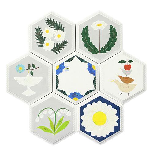 安原ちひろ やすはらちひろ/【一点もの】honey comb wood tile ハニカムウッドタイル(12種)