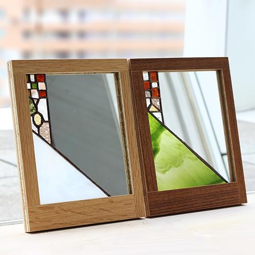 vivo stained glass×FLANGE plywood/ステンドグラス ミラー(2種)