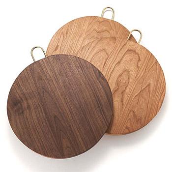 枯白 koku/丸まな板 三枚はぎ Φ30cm(ウォールナット、チェリー)