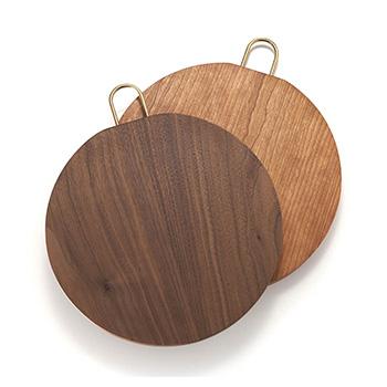 枯白 koku/丸まな板 二枚はぎ Φ26~30cm(ウォールナット、チェリー)