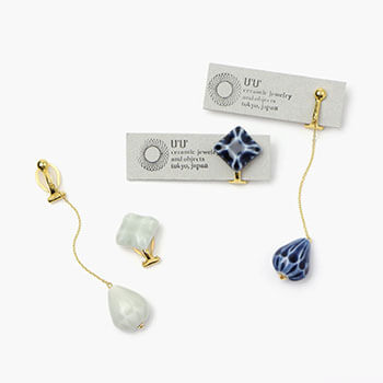 UU ceramic jewelry and objects ウウ セラミックジュエリー アンド オブジェクツ/イヤリングセット L「ドロップ・雨粒 Candy & Rain Drops」(2色)