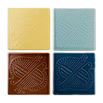 Pebble Ceramic Design Studio 石原亮太/タイル「ツインバード」(4色)