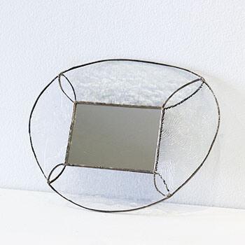 vivo stained glass ビーボステンドグラス/壁掛ミラー ROUND クリア